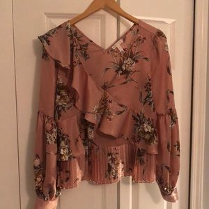 Leith Pink Floral Silk Blouse
